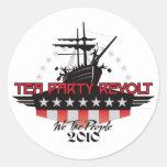 Rebelión 2010 de la fiesta del té etiqueta redonda