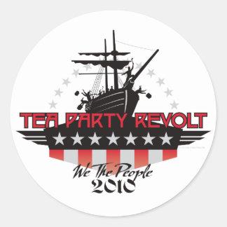 Rebelión 2010 de la fiesta del té pegatina redonda