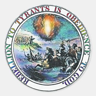 Rebelión a los pegatinas de los tiranos pegatina redonda