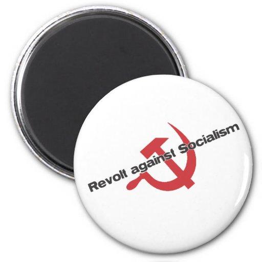 Rebelión contra socialismo imán redondo 5 cm