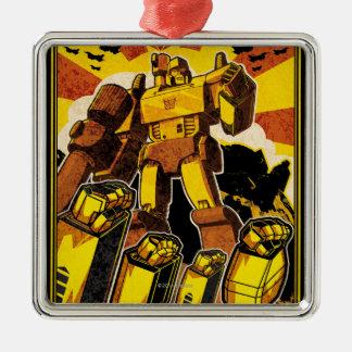 Rebelión del robot adorno cuadrado plateado
