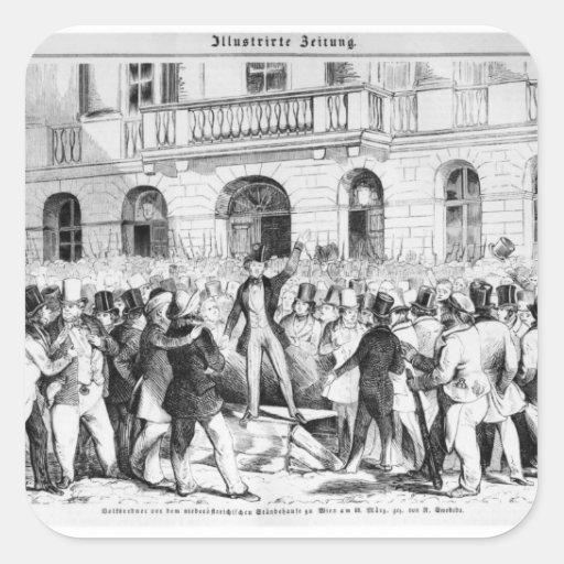 Rebelión en Viena Pegatina Cuadrada
