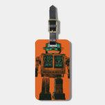 Rebelión radiactiva del robot etiqueta de equipaje