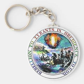 Rebelión sello de Thomas Jefferson de los tiranos  Llavero Redondo Tipo Pin