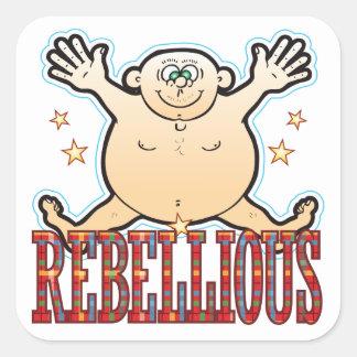 Rebellious Fat Man Square Sticker