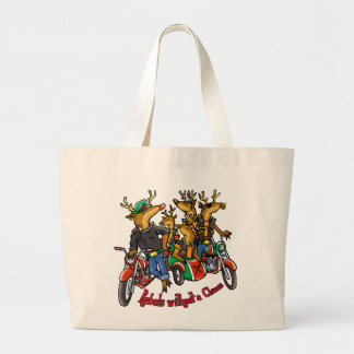 Rebels without a Claus Reindeer Holiday Cartoon Large Tote Bag