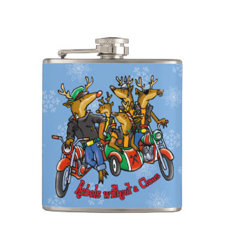 Rebels without a Claus Reindeer Holiday Flask