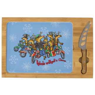 Rebels without a Claus Reindeer Holiday Rectangular Cheese Board
