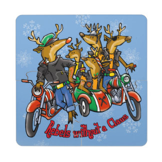 Rebels without a Claus Reindeer Holiday Puzzle Coaster