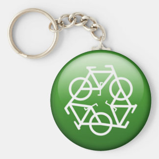 ReBicycle Green Basic Round Button Keychain
