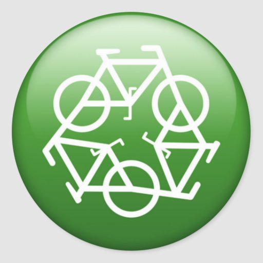 ReBicycle Green Round Stickers