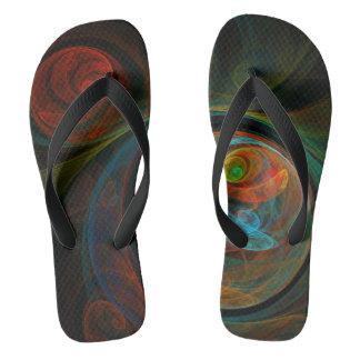 Rebirth Blue Abstract Art Flip Flops
