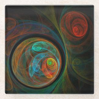 Rebirth Blue Abstract Art Glass Coaster