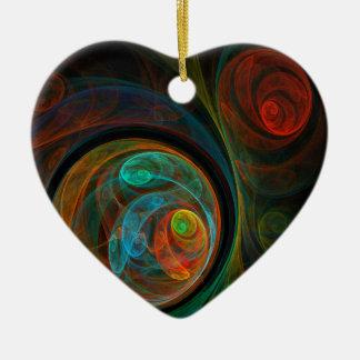 Rebirth Blue Abstract Art Heart Ornament