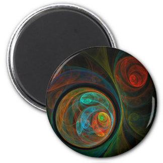 Rebirth Blue Abstract Art Round Magnet