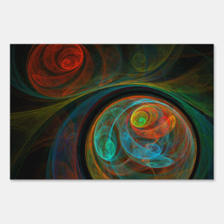 Rebirth Blue Abstract Art Sign