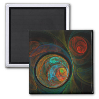 Rebirth Blue Abstract Art Square Magnet