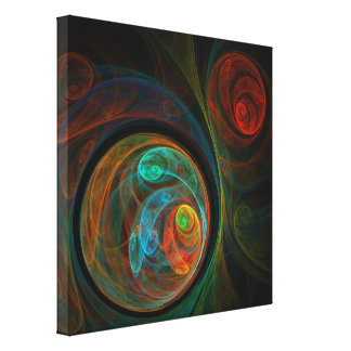 Rebirth Blue Abstract Art Wrapped Canvas Print