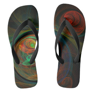 Rebirth Green Abstract Art Flip Flops