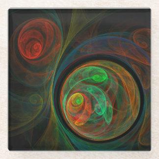 Rebirth Green Abstract Art Glass Coaster