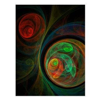 Rebirth Green Abstract Art Postcard