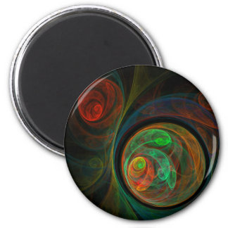 Rebirth Green Abstract Art Round Magnet