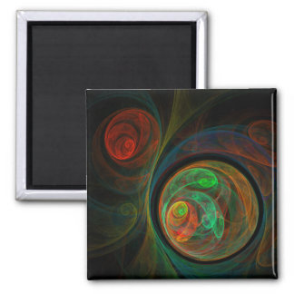 Rebirth Green Abstract Art Square Magnet
