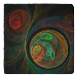 Rebirth Green Abstract Art Stone Trivet