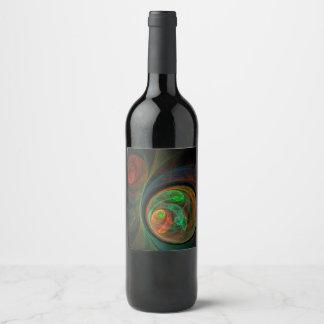 Rebirth Green Abstract Art Wine Label