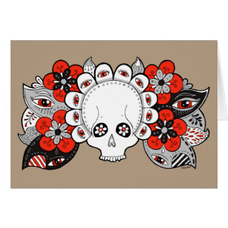 """Rebirth"" Skull and Flowers Drawing Blank Card"