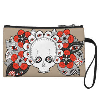 """Rebirth"" Skull and Flowers Drawing Clutch Bag"