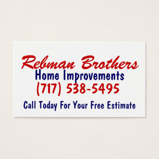 Rebman Brothers, Home Improvements, (717) 538-5... Business Card