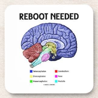 Reboot Needed (Anatomical Brain Humor) Drink Coaster