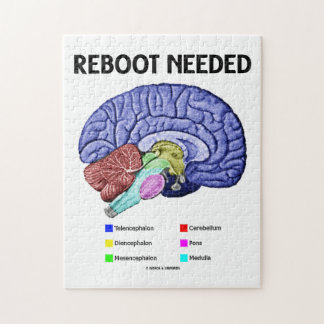 Reboot Needed (Anatomical Brain Humor) Jigsaw Puzzle