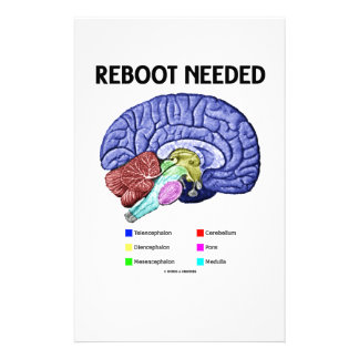 Reboot Needed (Anatomical Brain Humor) Stationery Design