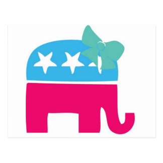 Rebublican Elephant with bow Postcard