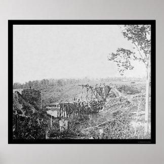 Rebuilding Railroad Bridge Over Cedar Run, VA 1863 Print