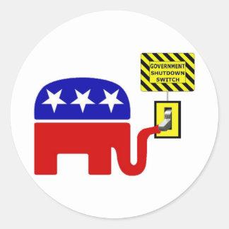 Rebuplican Government Shutdown 2011 Classic Round Sticker