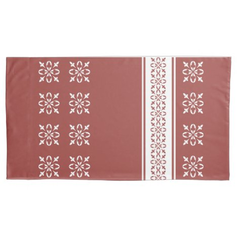 Rec Ochre Moroccan French damask king Pillow Case