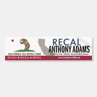 Recall Anthony Adams Bumper Sticker Car Bumper Sticker