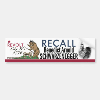 Recall Benedict Arnold-1776 Revolt Bumper Sticker Car Bumper Sticker