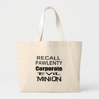 Recall Governor Pawlenty Koch Oil's  Evil Minion Jumbo Tote Bag