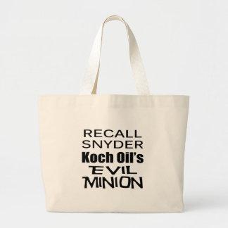 Recall Governor Rick Snyder Evil Corporate Minion Bag