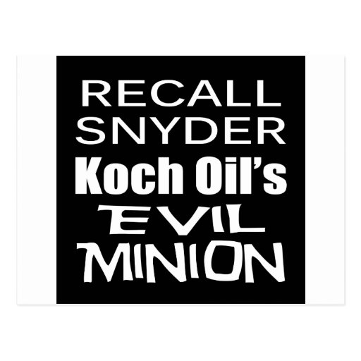 Recall Governor Rick Snyder Evil Corporate Minion Postcards