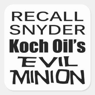 Recall Governor Rick Snyder Evil Corporate Minion Square Sticker