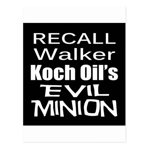 Recall Governor Scott Walker Corporate Evil Minion Postcards