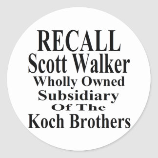 Recall Governor Scott Walker Corporate Minion Classic Round Sticker