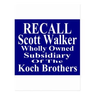 Recall Governor Scott Walker Corporate Minion Postcard