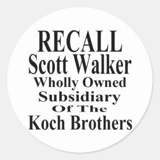 Recall Governor Scott Walker Corporate Minion Round Stickers