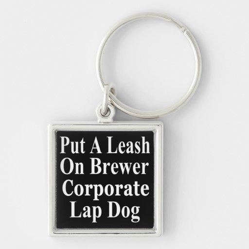 Recall Jan Brewer Evil Corporate Minion Silver-Colored Square Keychain